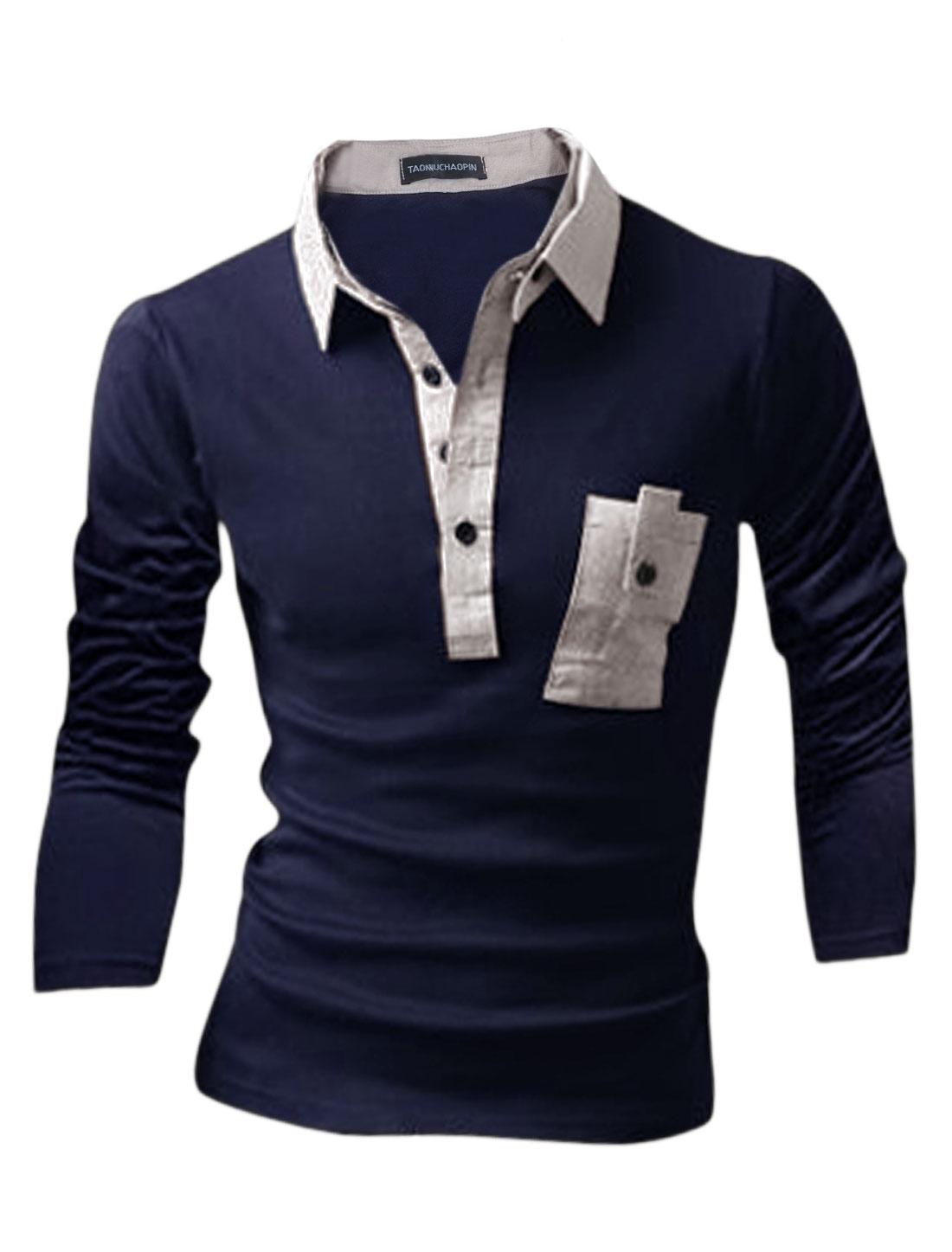Men Four-Button Placket Detachable Turn Down Collar Polo Shirt Navy Blue M