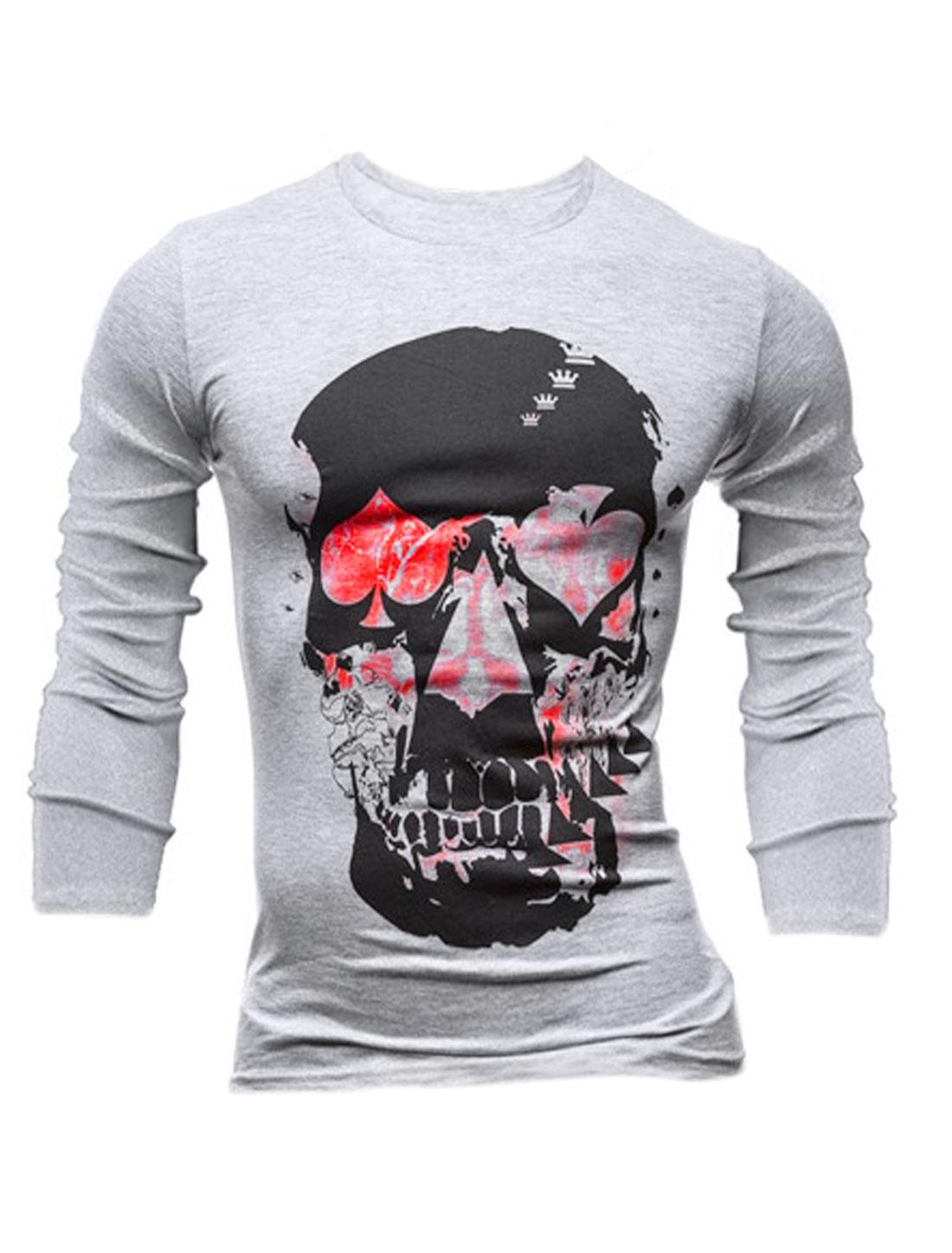 Men Poker Skull Pattern Round Neck Long Sleeves Tee Shirt Light Gray M