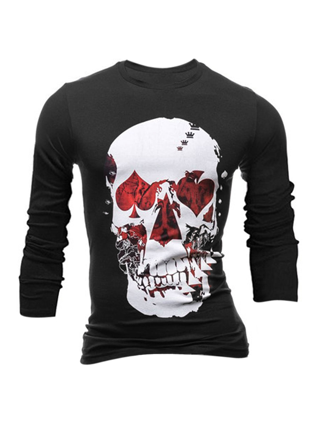 Men Poker Skull Pattern Round Neck Long Sleeves Casual T-shirt Black M