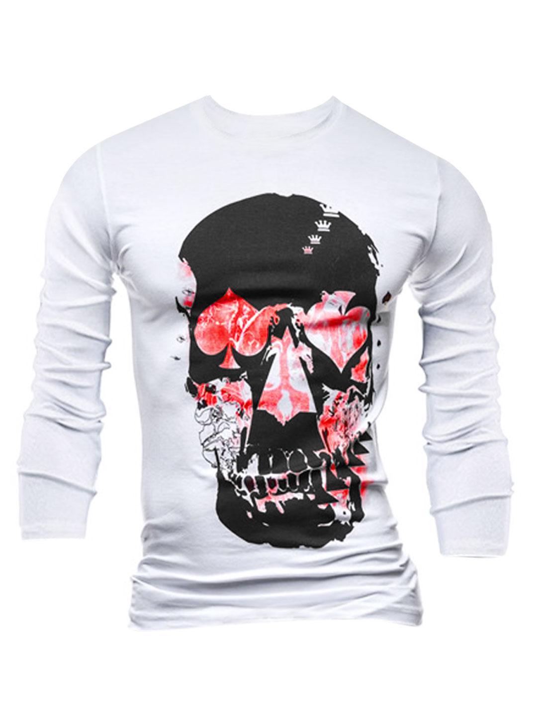 Men Poker Skull Pattern Slipover Long Sleeves Leisure Tee Shirt White M