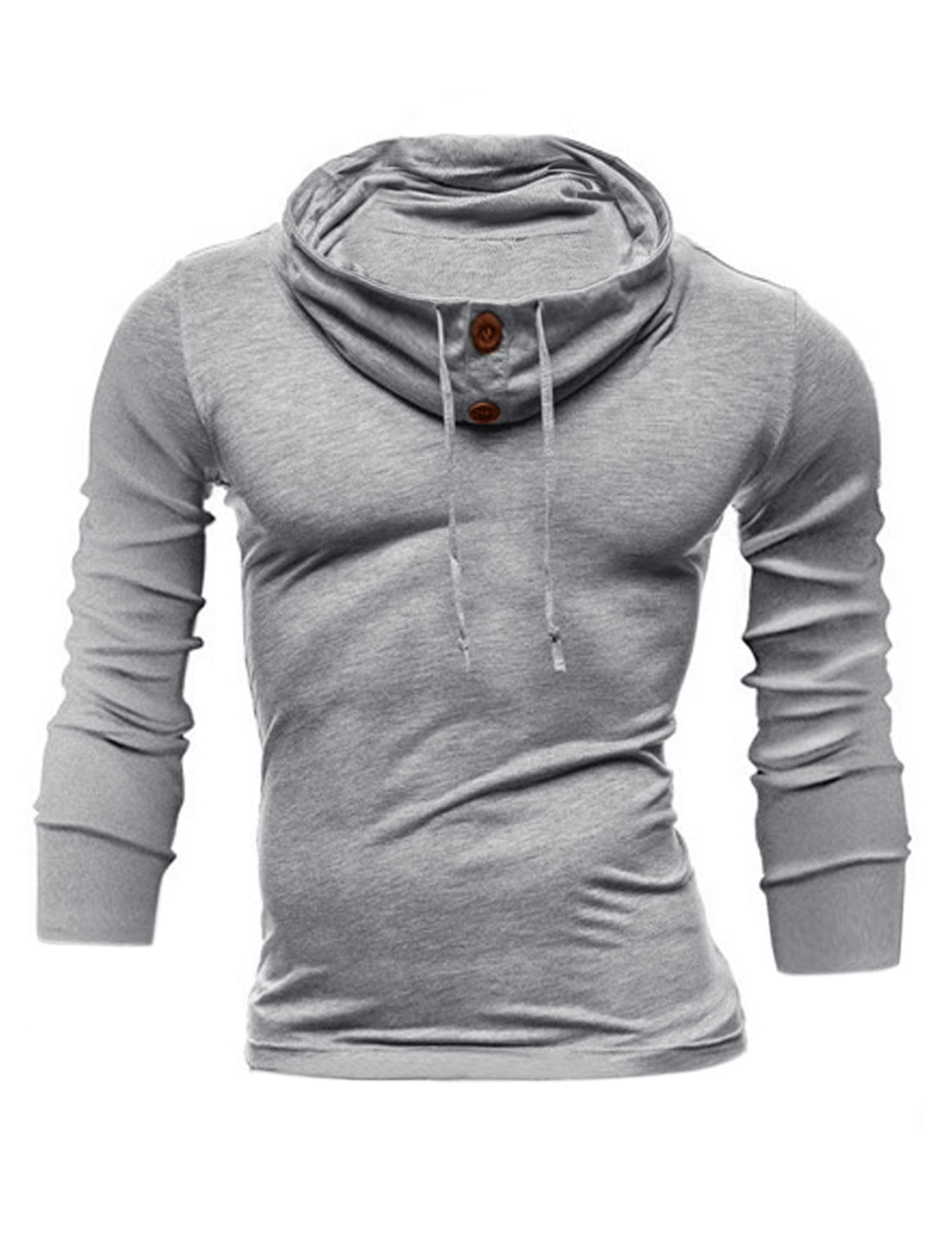 Men Funnel Neck Long Sleeves Buttons Decor Upper Sweatshirt Light Gray M