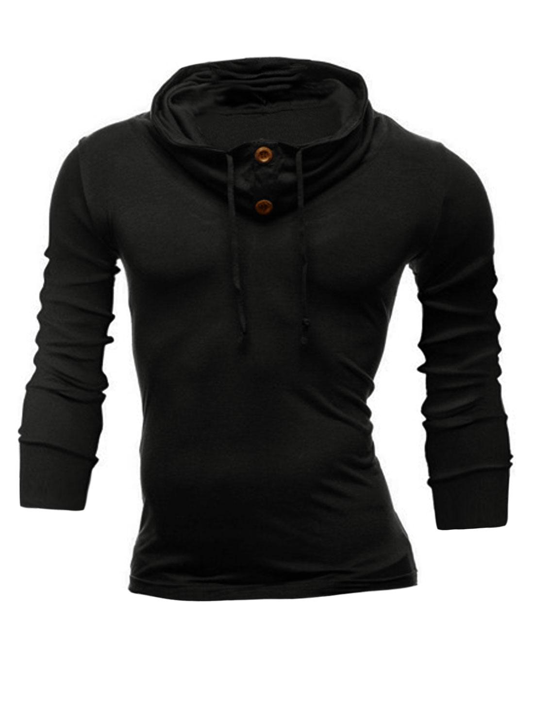 Men Funnel Neck Long Sleeves Drawstring Sweatshirt Black M