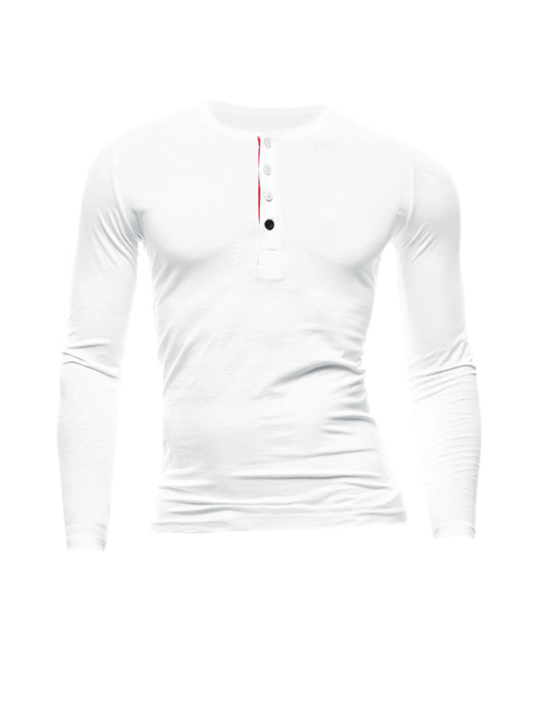 Men Long Sleeves Leisure Four-Button Placket Henley Shirt White M