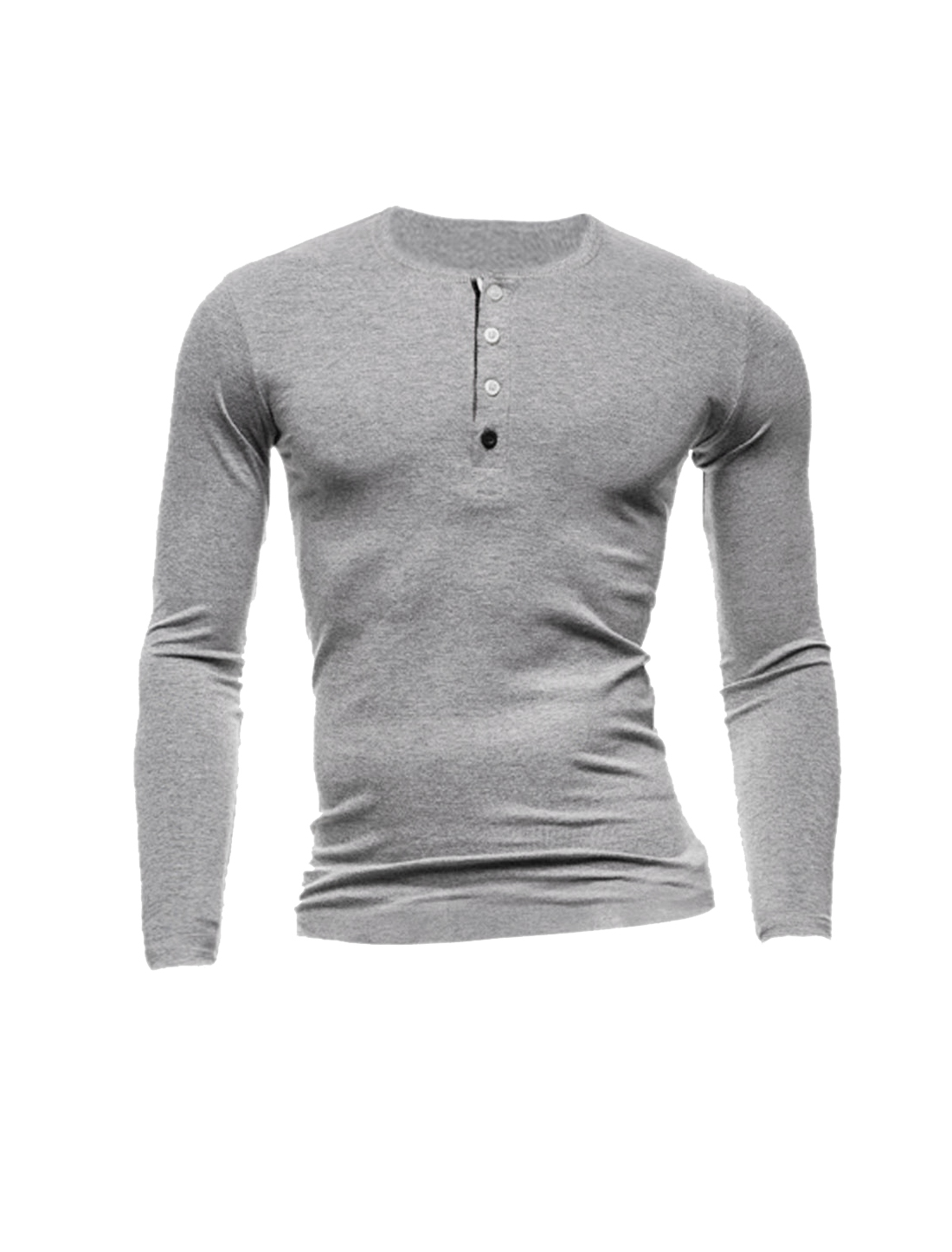 Men Long Sleeves Round Neck Four-Button Placket Henley Shirt Light Gray M