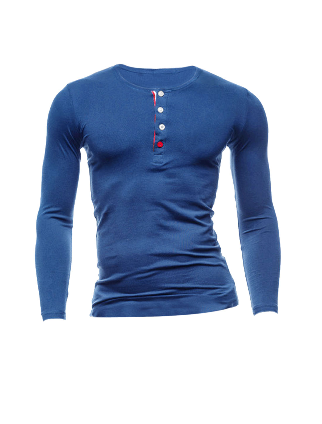 Men Long Sleeves Round Neck Four-Button Placket Casual Henley Shirt Blue M