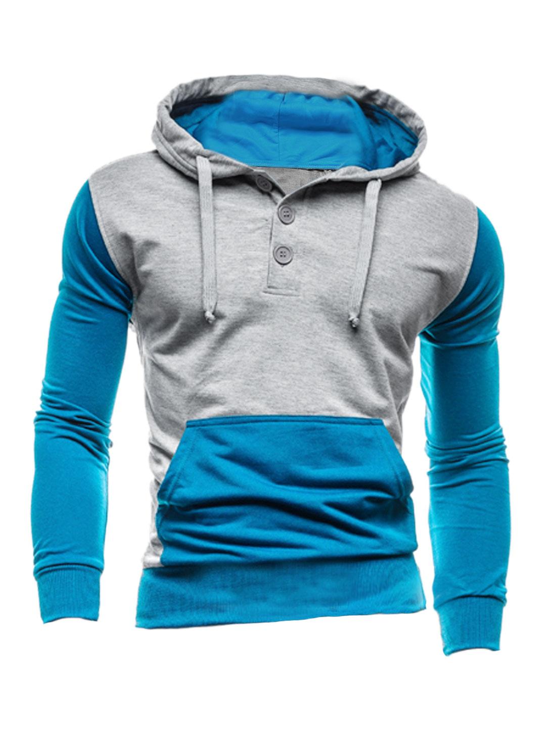 Men Long Sleeve Drawstring Hooded Color Block Hoodie Sweatshirt Blue Light Gray M