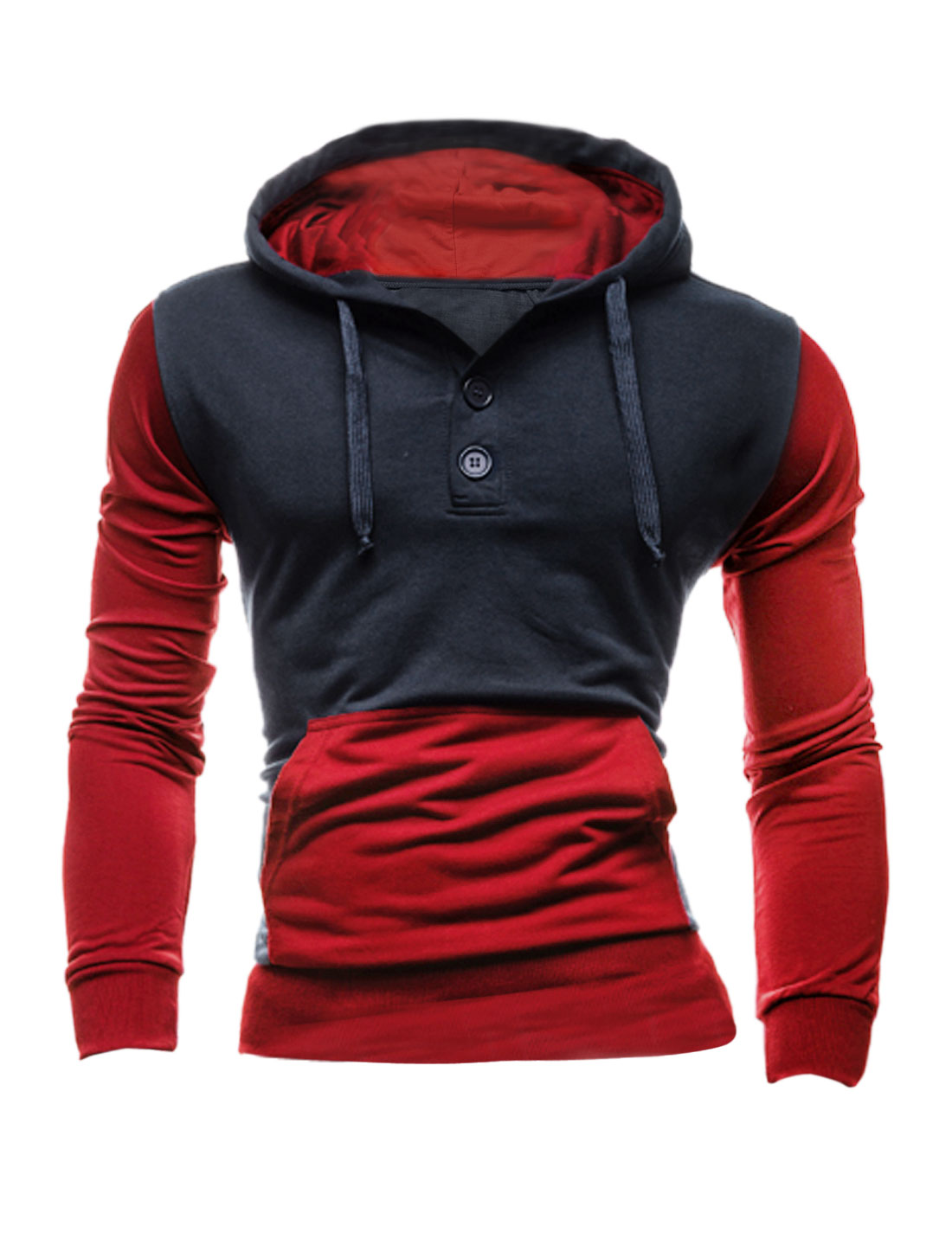 Men Long Sleeve Color Blocking Hoodie Sweatshirt Red Navy Blue M
