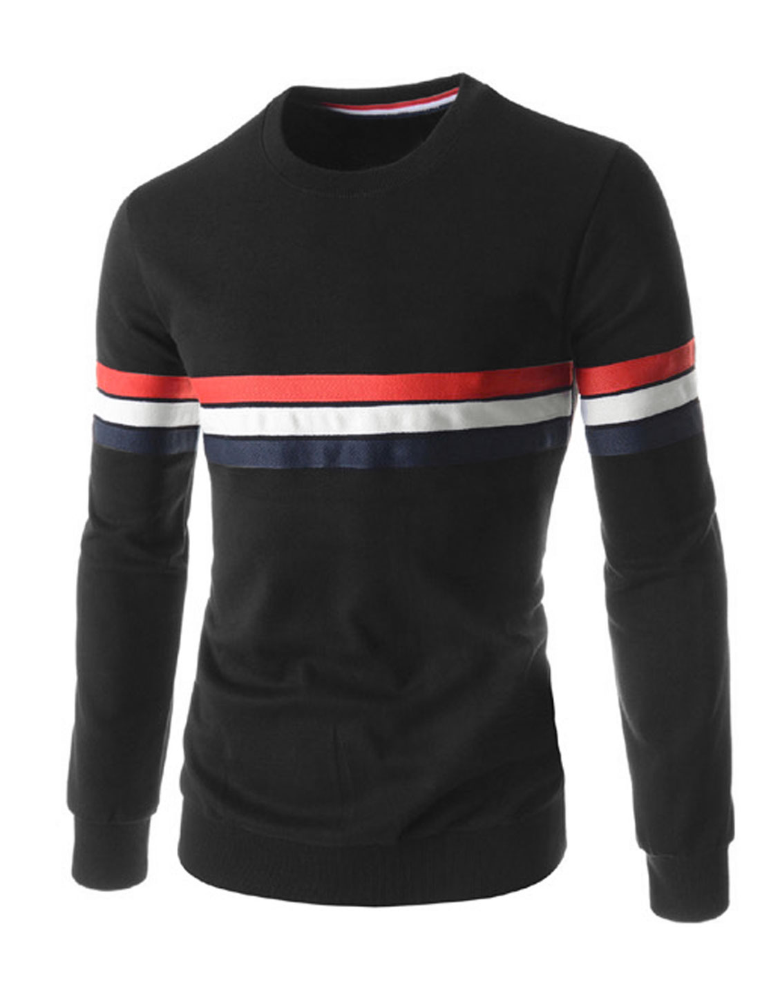 Men Stripes Design Stitching Round Neck Long Sleeves T-shirt Black M