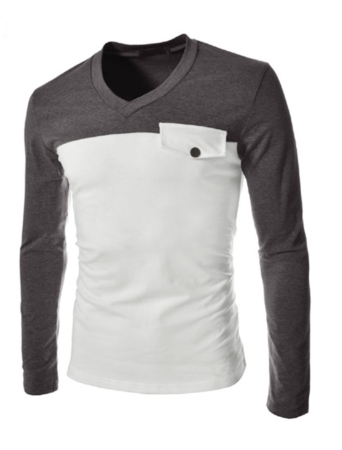 Men Long Sleeve V Neck Color Block Slim Fit Casual T-Shirt Dark Gray White M