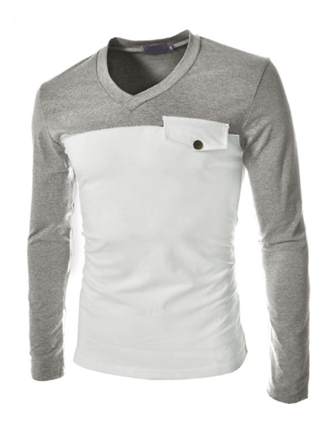 Mens Long Sleeve V Neck Color Block Slim Fit Casual Tee Gray White M