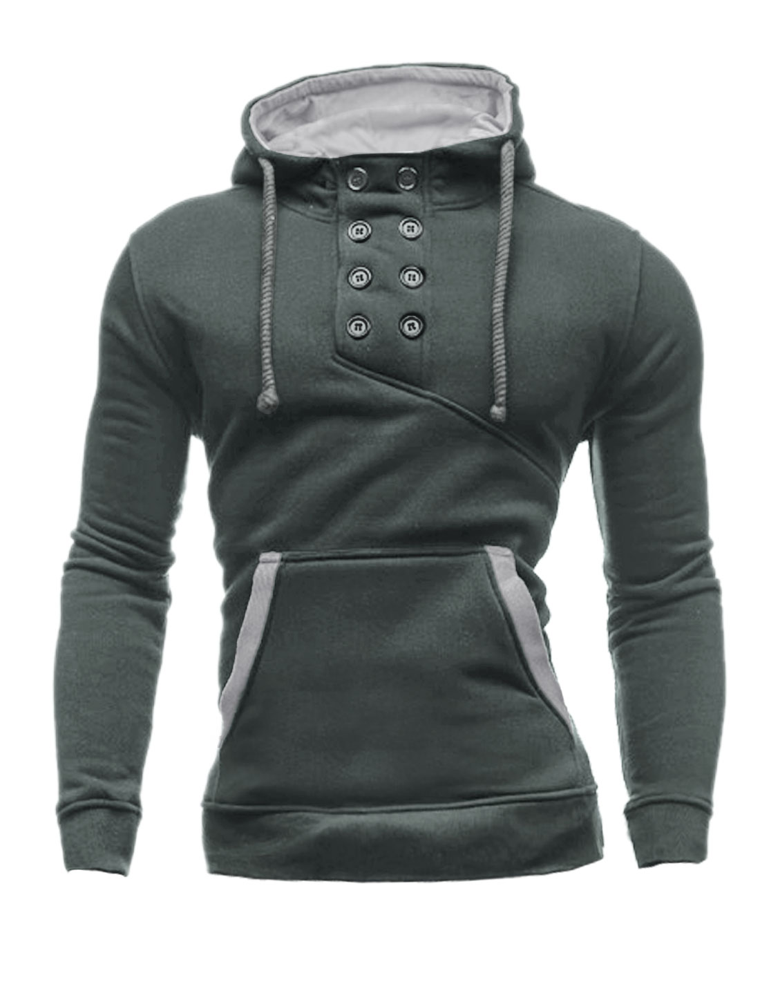 Men Double Breasted Upper Long Sleeves Drawstring Hoodie Dark Gray M
