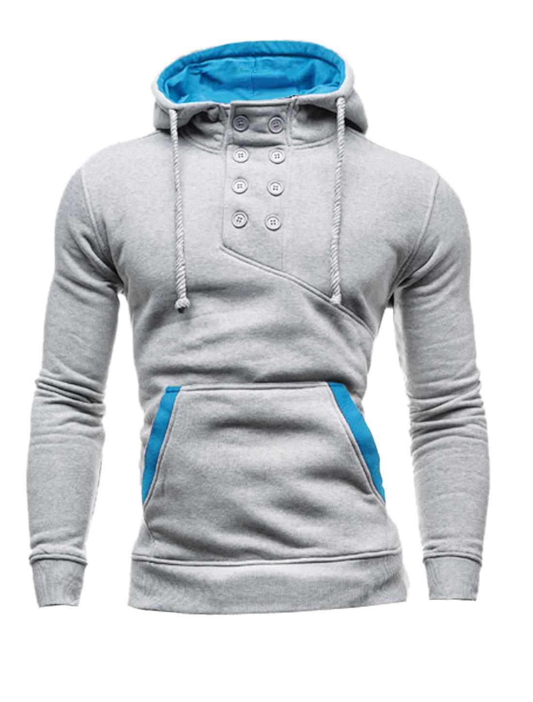 Men Double Breasted Upper Kangaroo Pocket Drawstring Hoodie Light Gray M