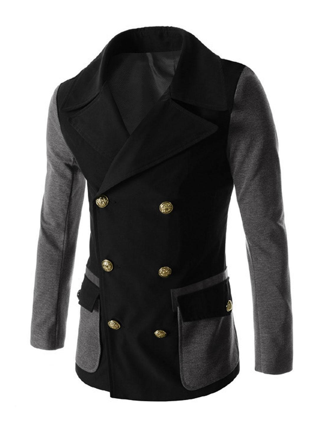 Men Long Sleeve Double Breasted Flap Pockets Split Back Casual Jacket Black M