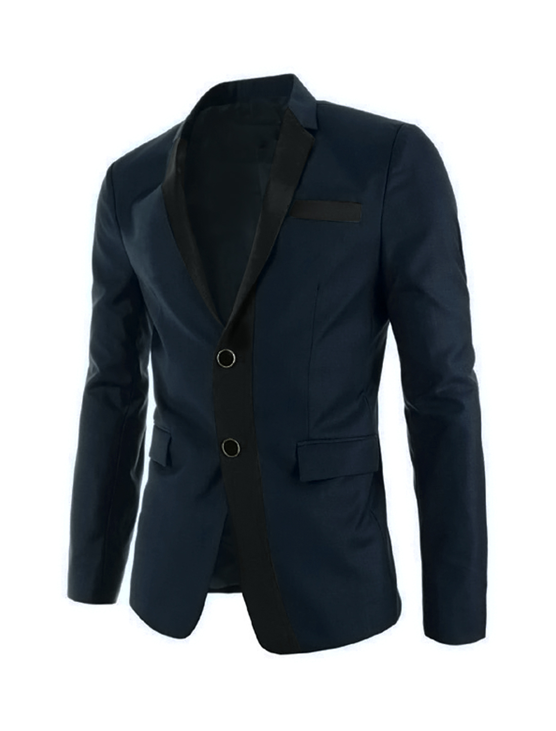 Men Long Sleeve Notched Lapel Button Closure Casual Blazer Navy Blue M