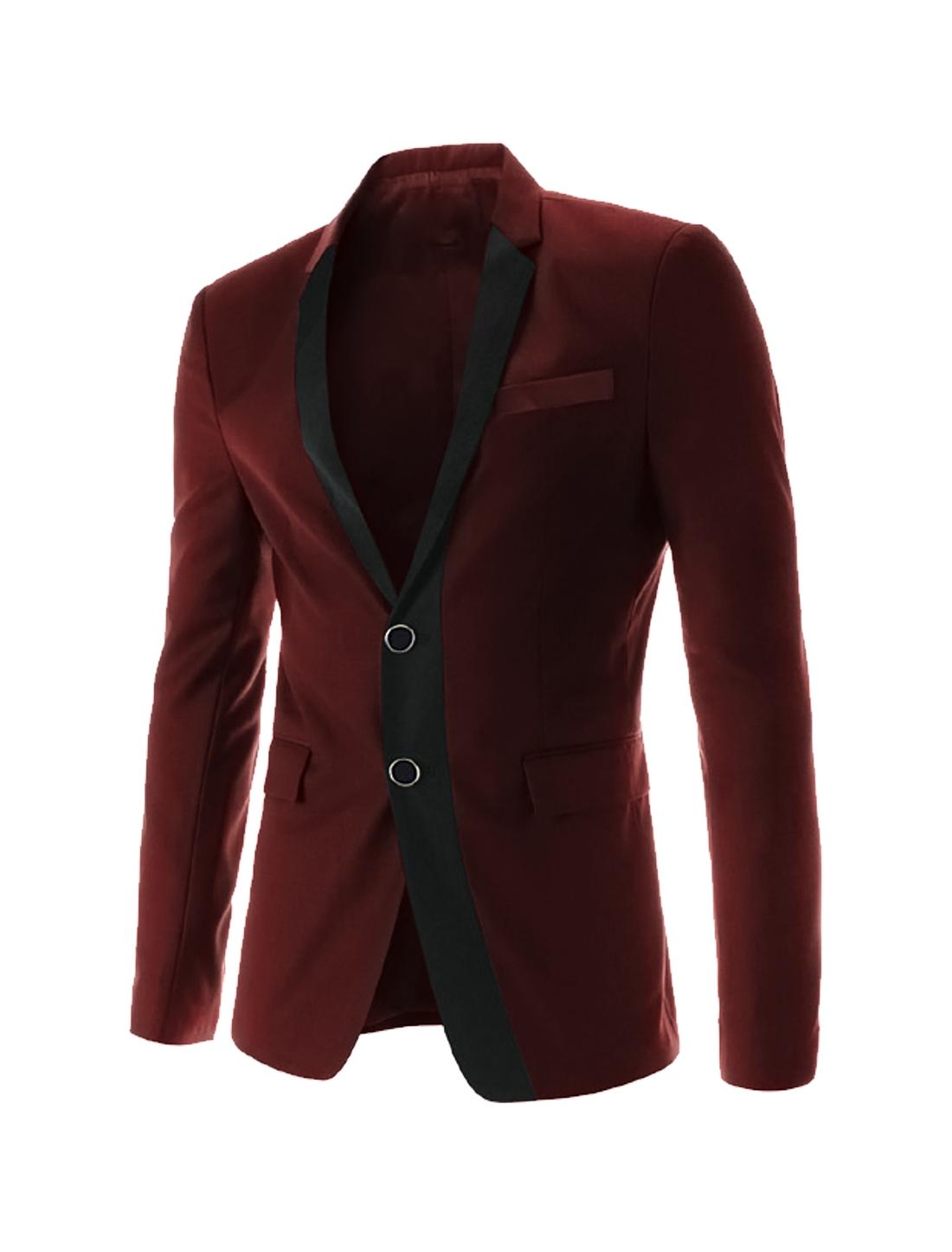 Men Long Sleeve Button Closure Front Pockets Blazer Jacket Burgundy M