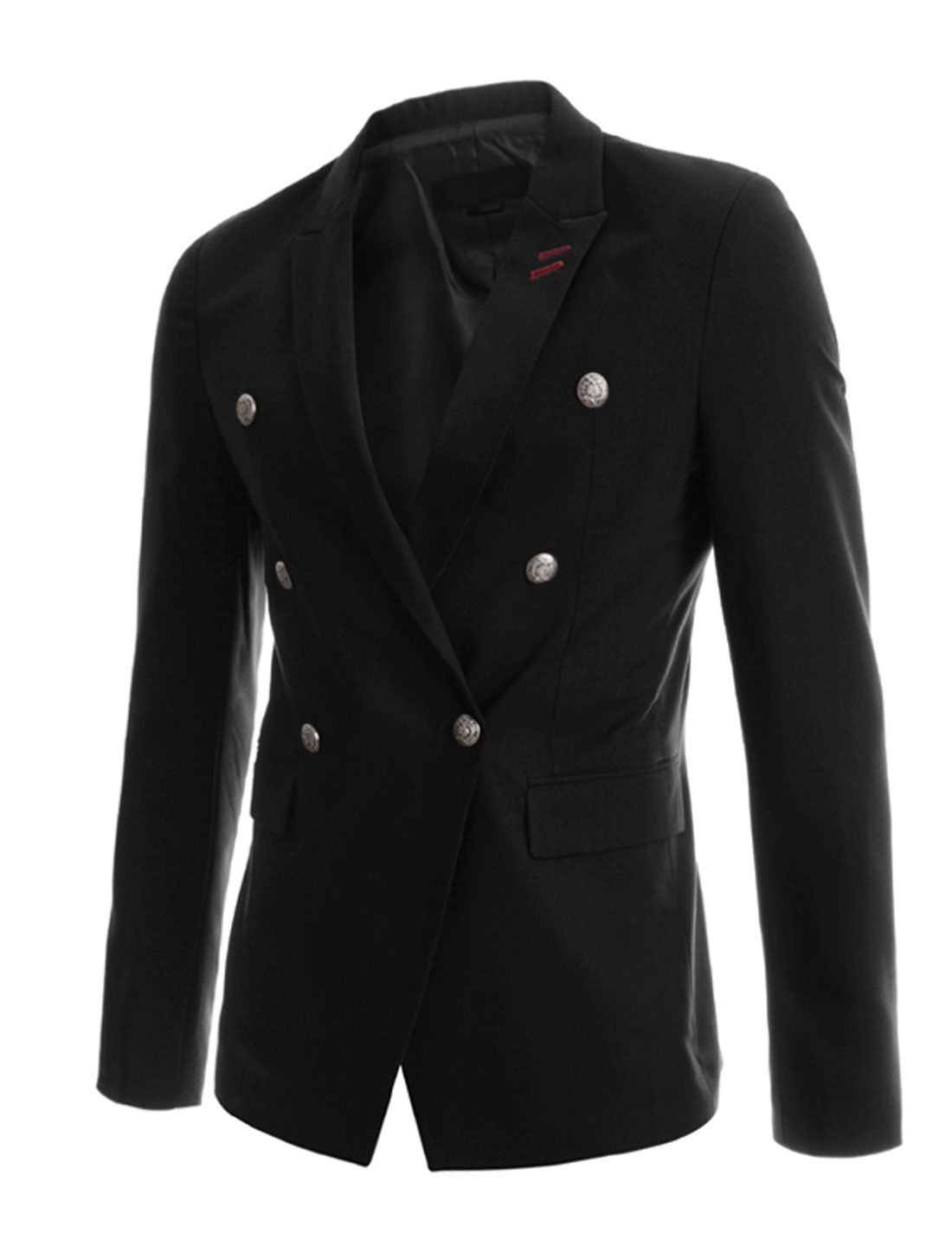 Men Long Sleeve Peaked Lapel Flap Pockets Button Closure Casual Blazer Black M