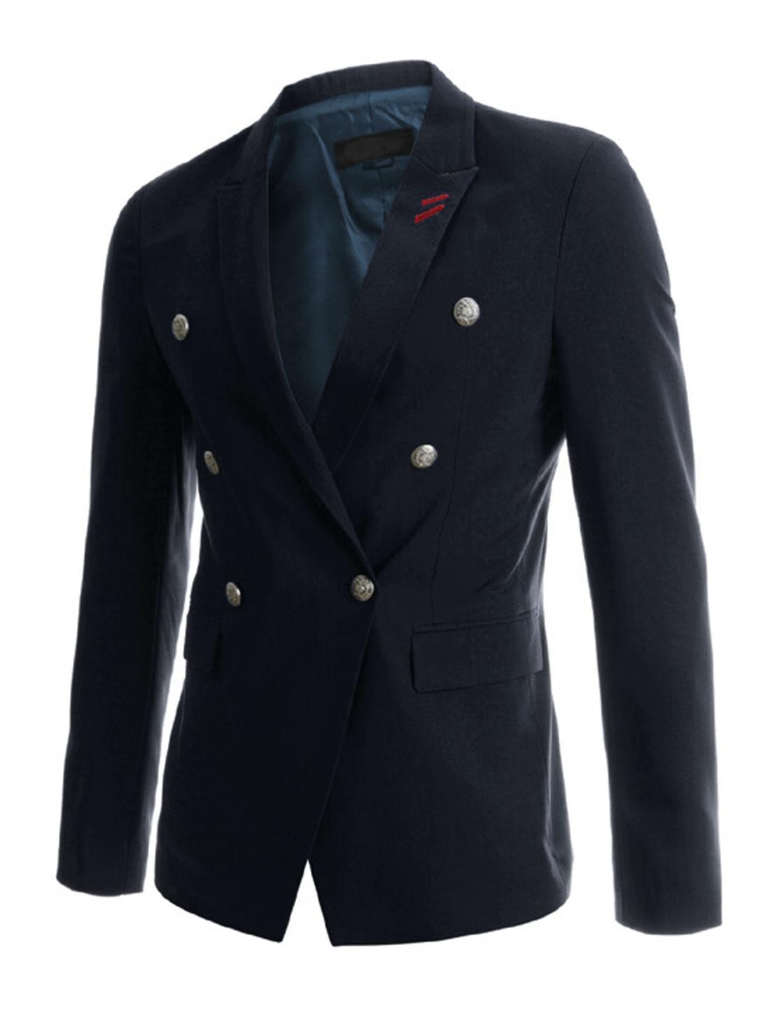 Men Long Sleeve Peaked Lapel Single Breasted Blazer Jacket Navy Blue M