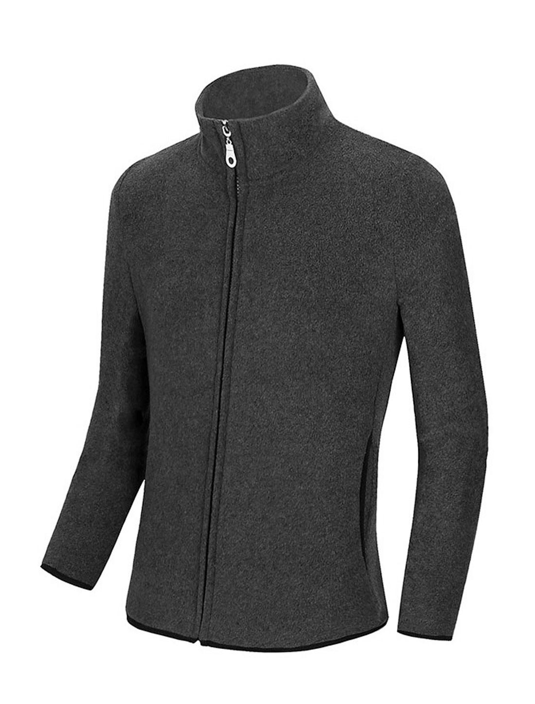Men Long Sleeve Stand Collar Zip Closed Fleece Jackets Dark Gray M