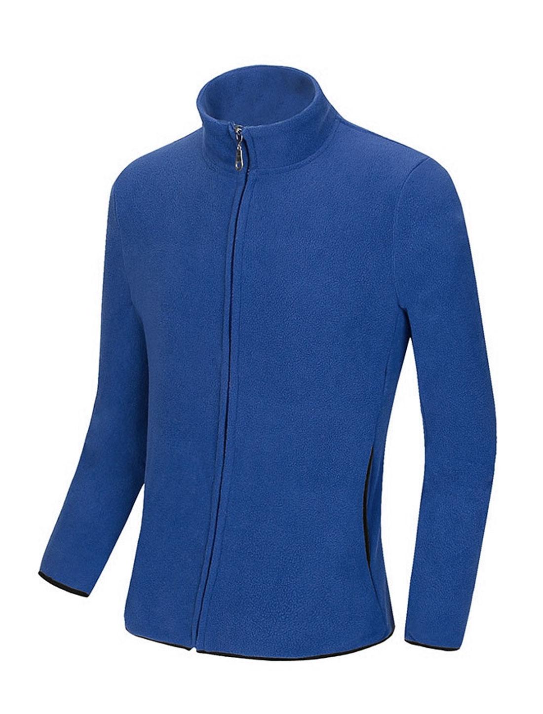 Men Long Sleeve Front Pockets Zip Up Fleece Jackets Royal Blue M