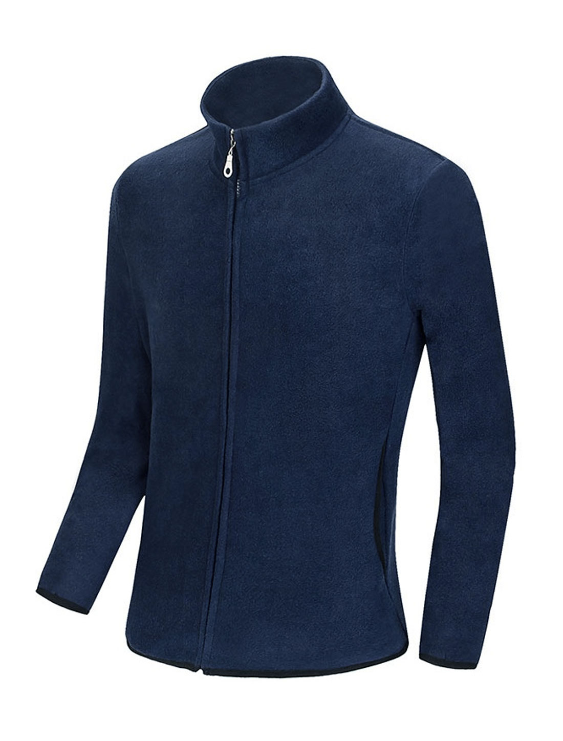 Men Long Sleeve Stand Collar Zip Up Leisure Fleece Jacket Navy Blue M