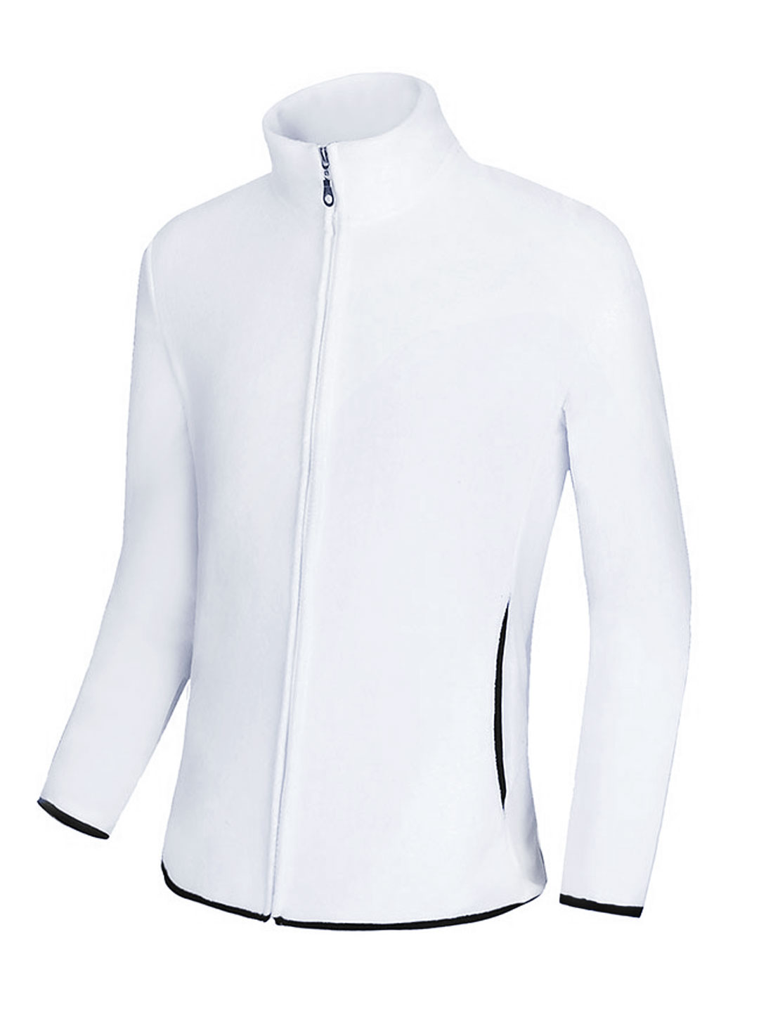 Men Long Sleeve Stand Collar Front Pockets Zip Up Fleece Jacket White M