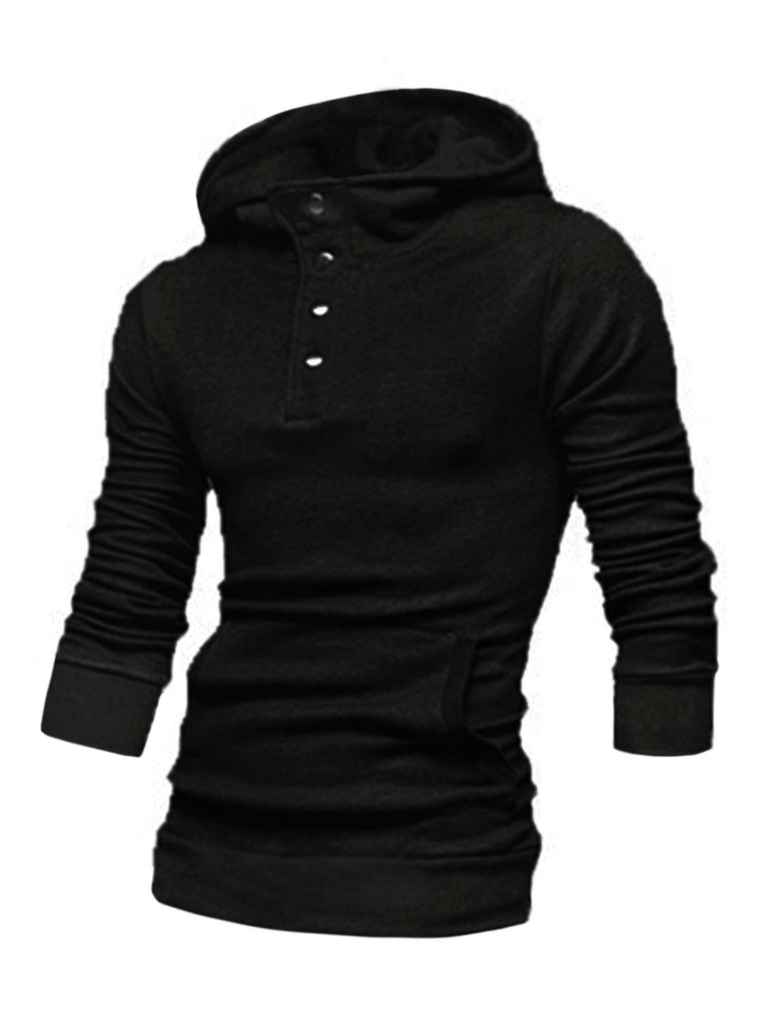 Men Long Sleeve Kangaroo Pocket Casual Hooded T-Shirt Black M