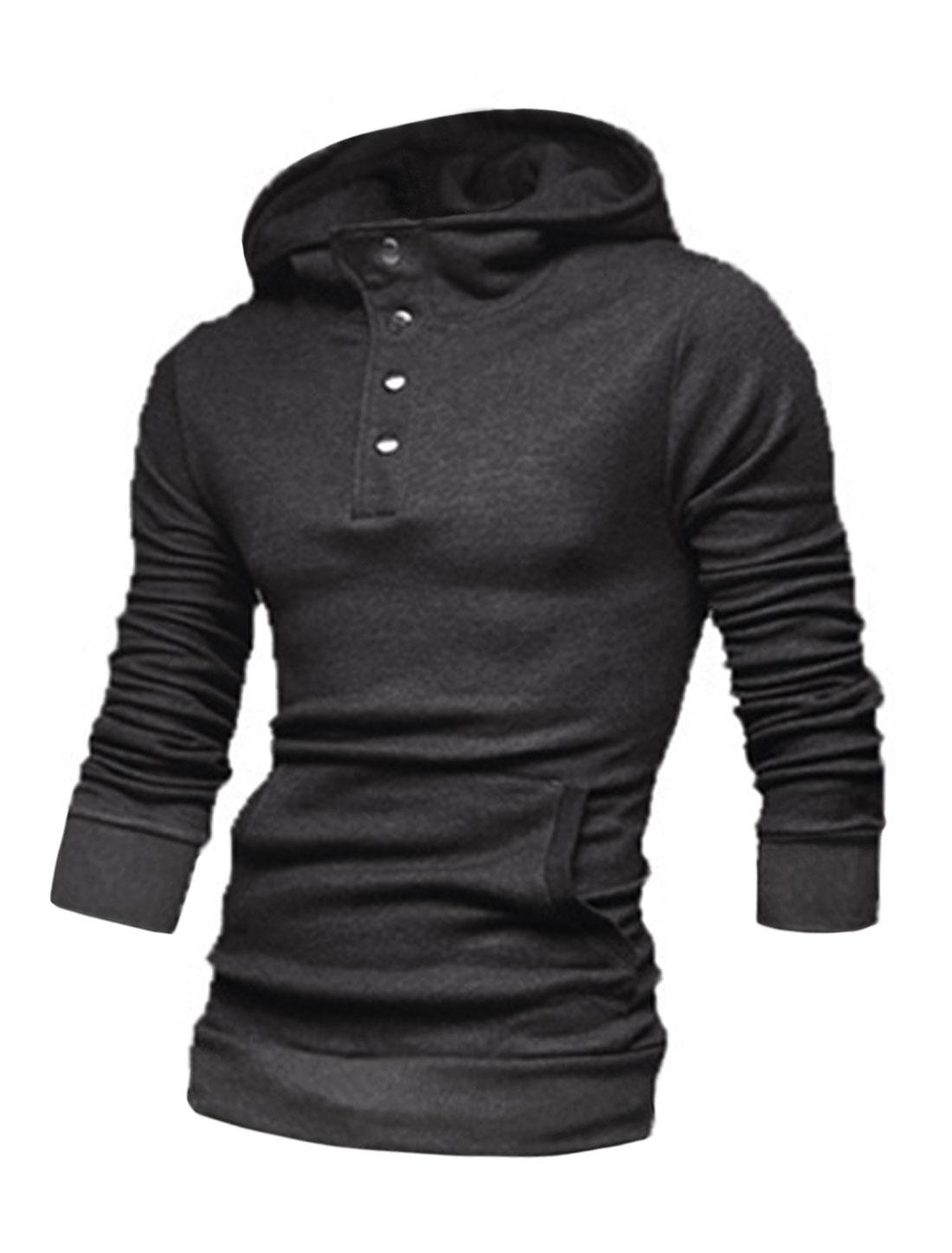 Men Long Sleeve Kangaroo Pocket Button Closure Upper Casual Hoodies Dark Gray M
