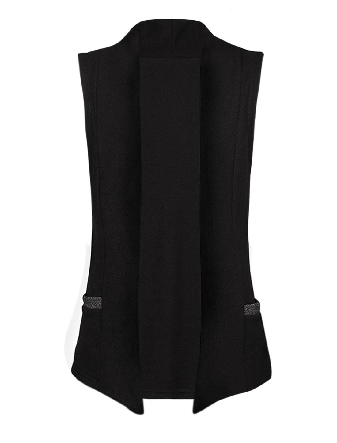 Men Open Front Two Straight Pockets Sleeveless Vest Outerwear Black S