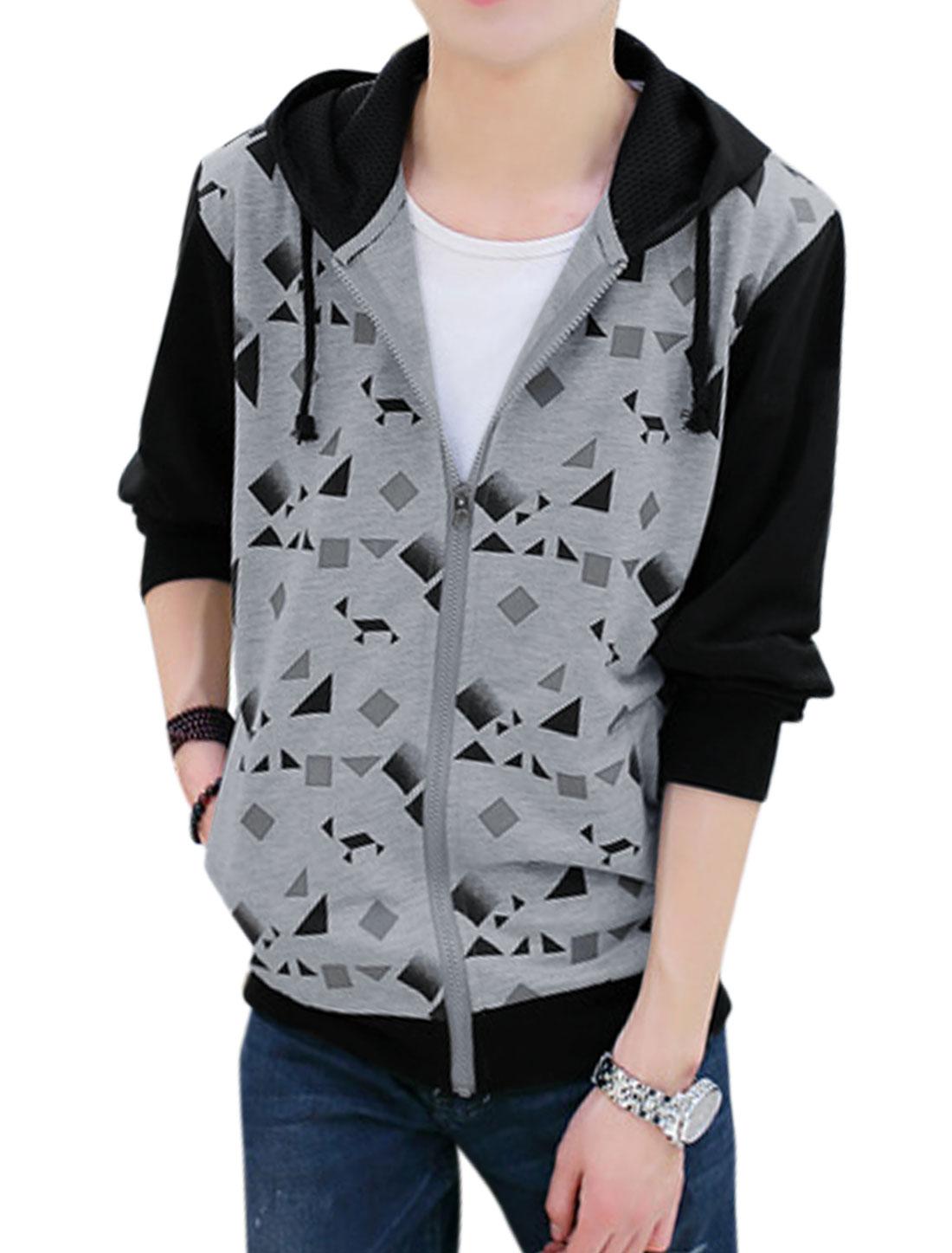 Men Long Sleeve Zip Closure Geometric Hoodie Jacket Gray M