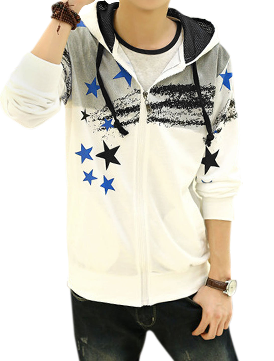 Men Drawstring Hoodie Front Pockets Casual Jacket White Gray M