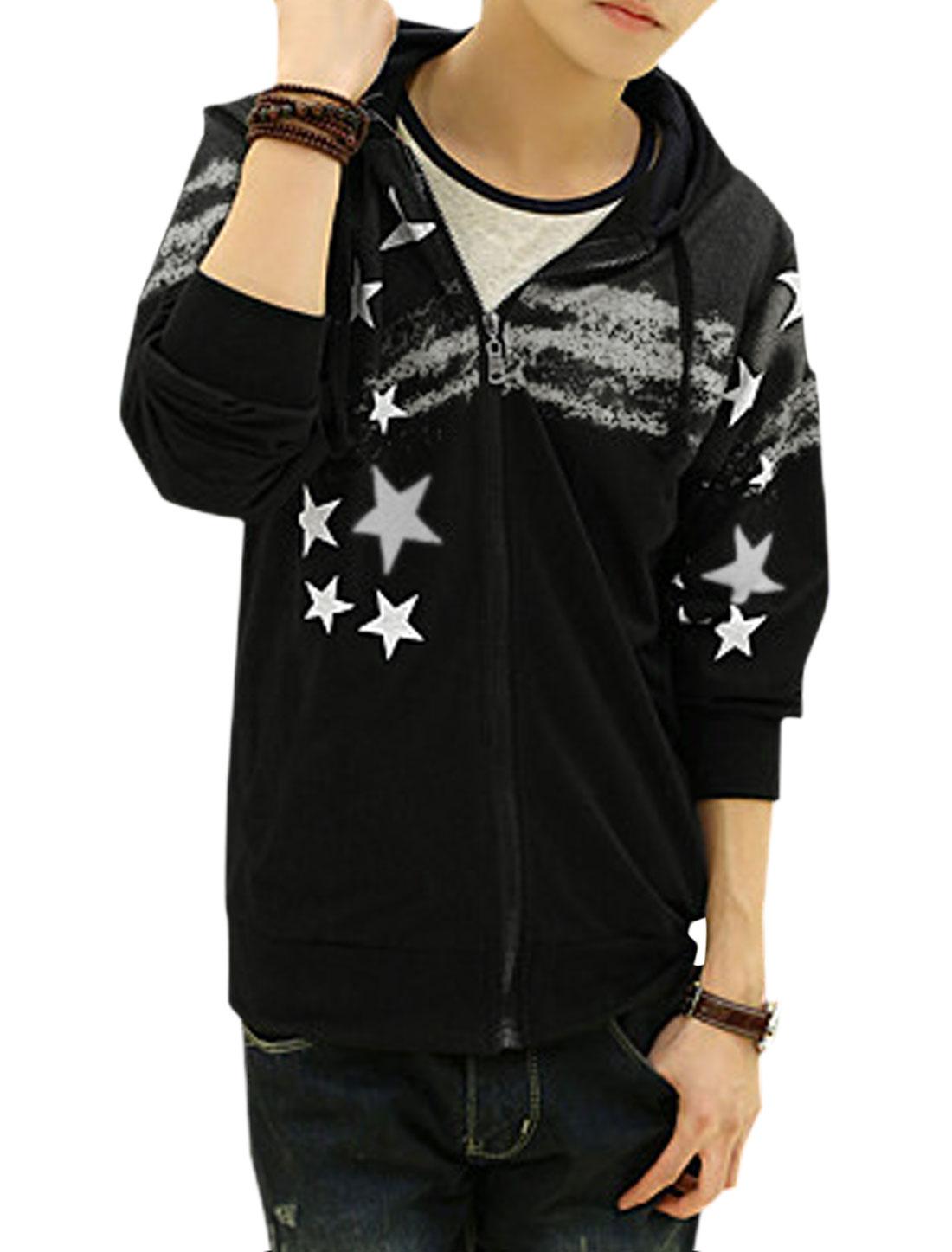 Men Long Sleeve Zip Closure Slim Fit Casual Hooded Jacket Black White M