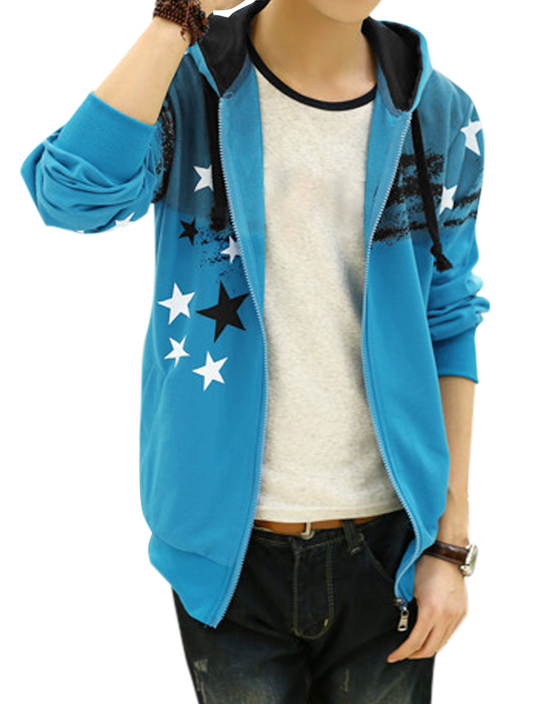 Men Long Sleeve Front Pockets Zip Closure Hoodie Jacket Blue White M