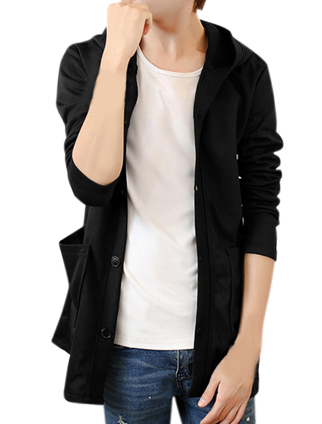 Men Long Sleeve Single Breasted Front Pockets Slim Fit Hooded Jacket Black S