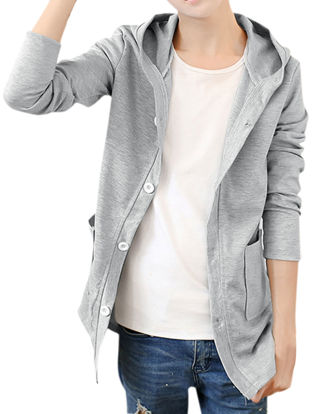 Men Button Closure Front Pockets Slim Fit Hooded Cardigan Light Gray S
