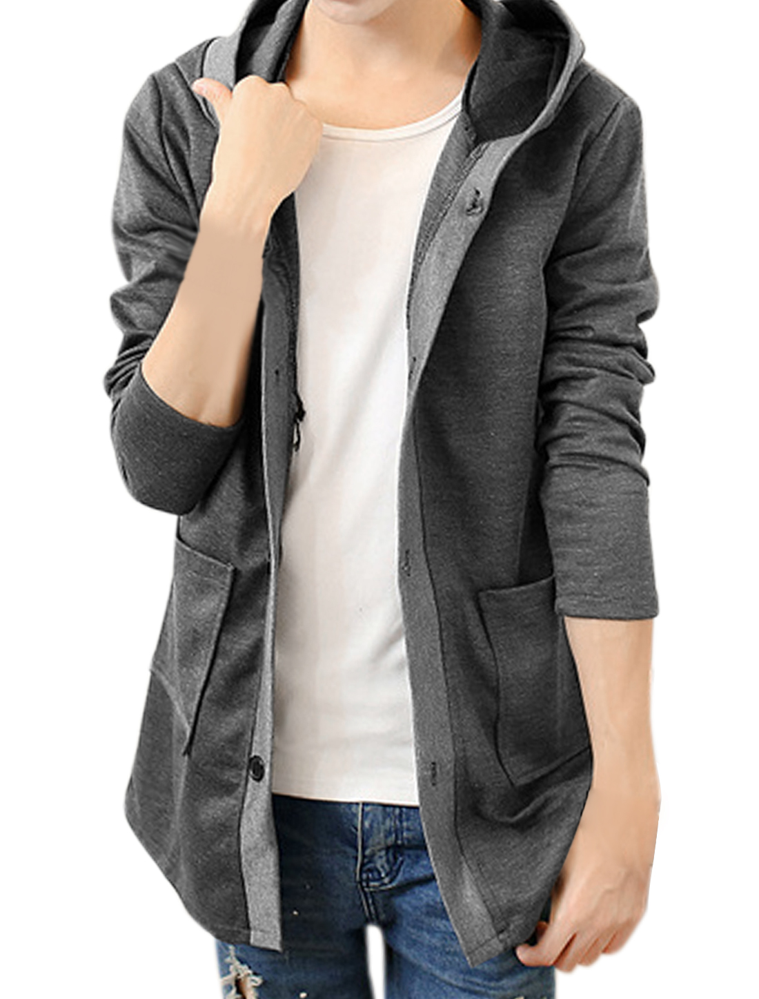 Men Long Sleeve Single Breasted Front Pockets Hooded Cardigan Dark Gray S