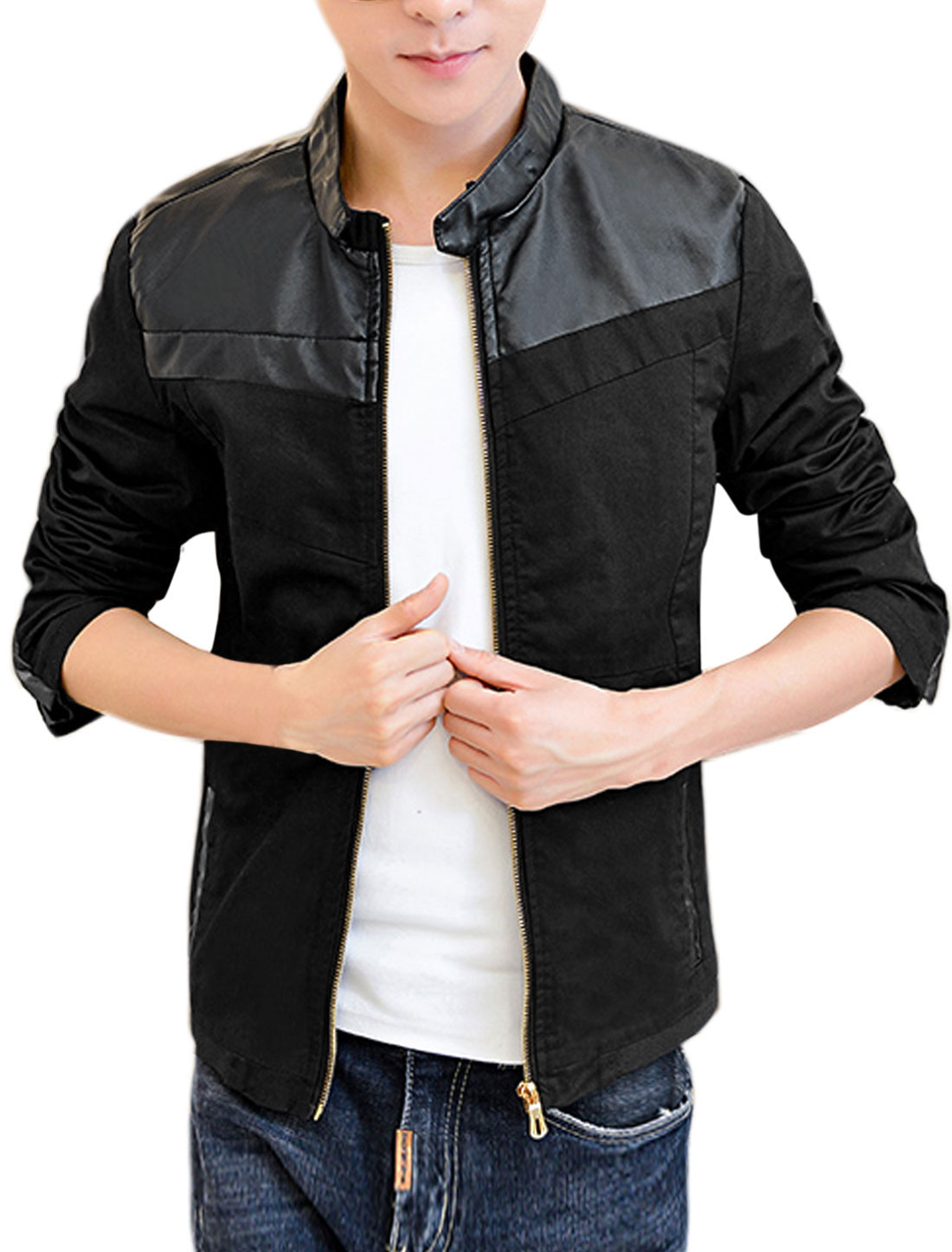 Men Imitation Leather Panel Stand Collar Zip Up Jacket Black M