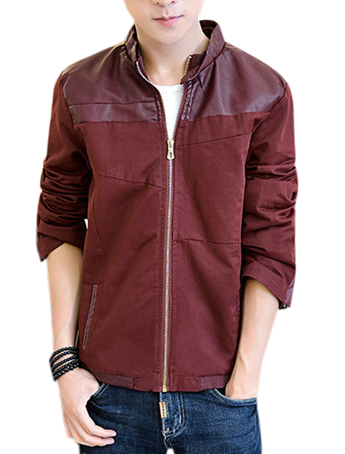 Men Imitation Leather Panel Stand Collar Long Sleeves Jacket Burgundy M