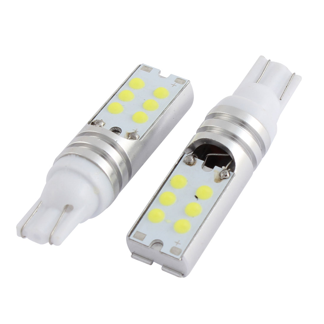 2 Pcs T10 921 W5W White COB 12-LEDs Side Light Wedge Lamp Bulb DC 12V Interior