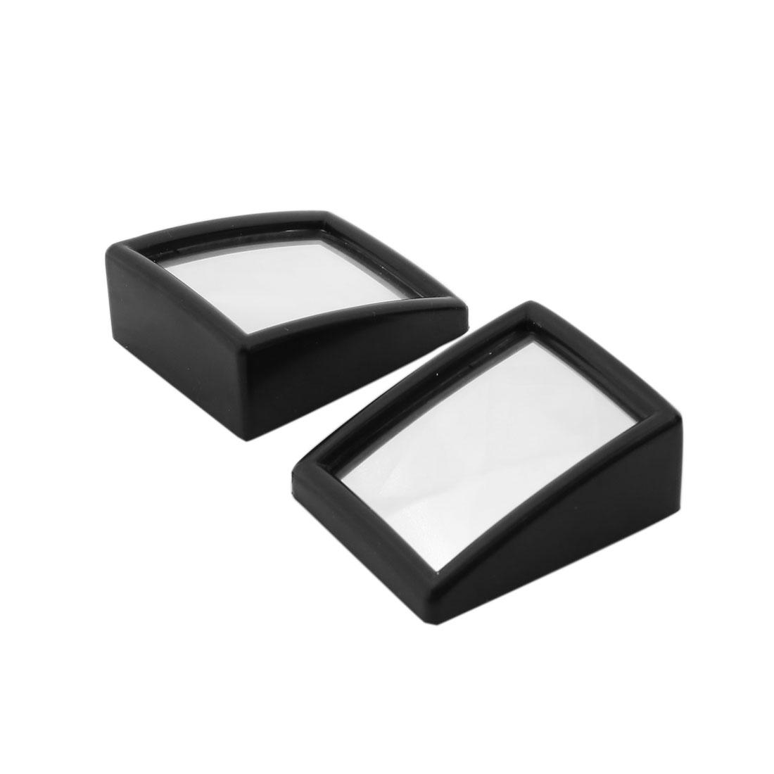 Pair Self-Adhesive Flat Car Rearview Side Mirror Black