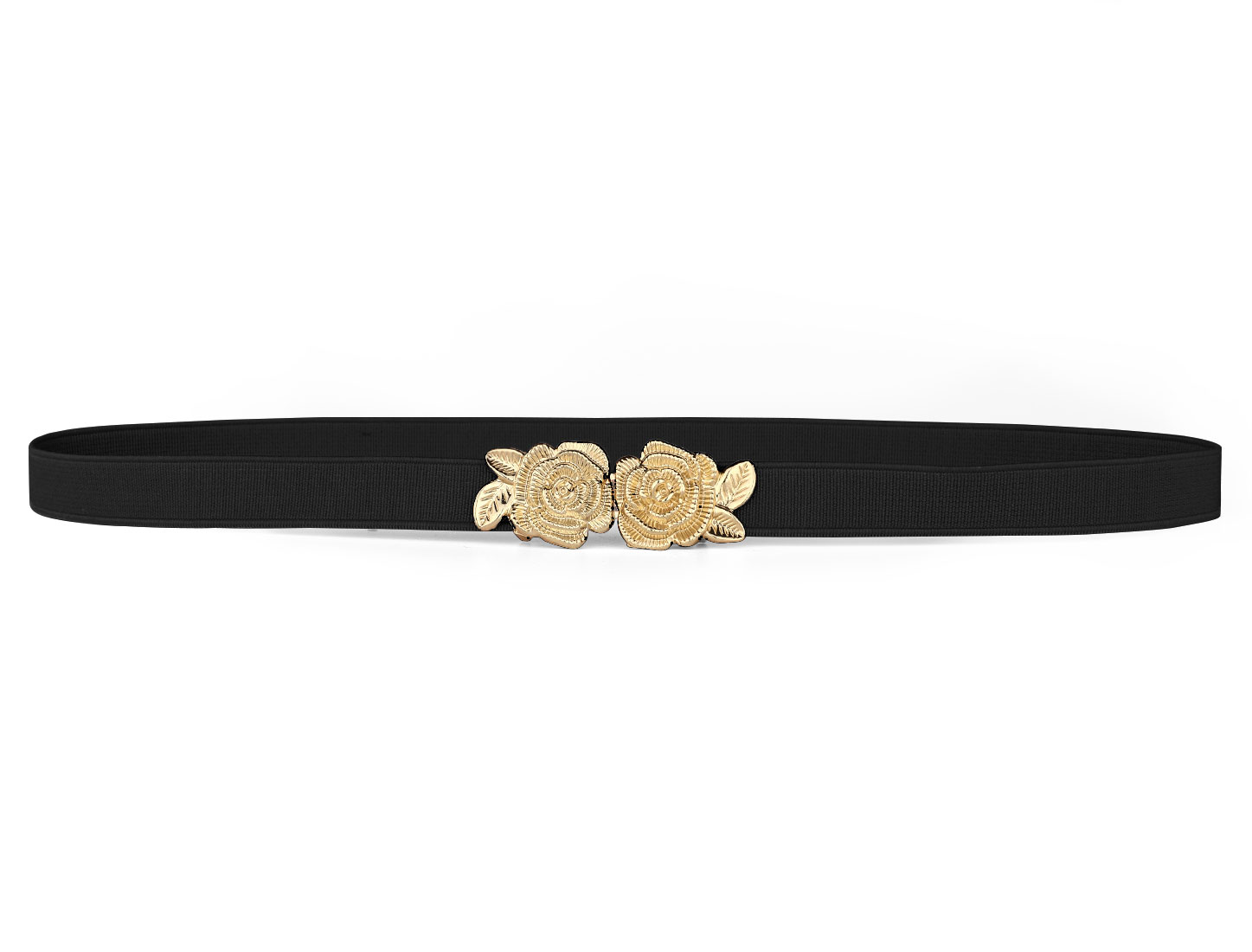 Lady Flower Shape Interlocking Buckle Elastic Band Waist Cinch Belt Black