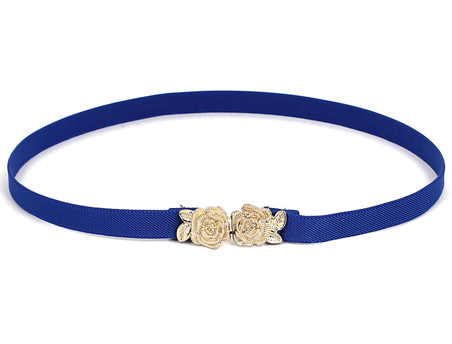 Lady Flower Shape Interlocking Buckle Elastic Band Waist Cinch Belt Blue