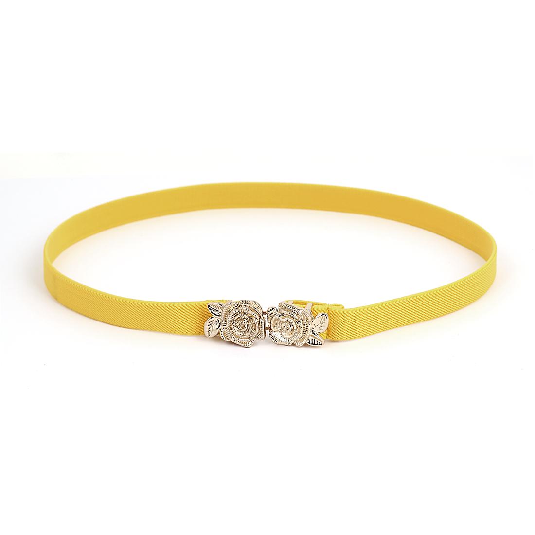Lady Flower Shape Interlocking Buckle Elastic Band Waist Cinch Belt Yellow