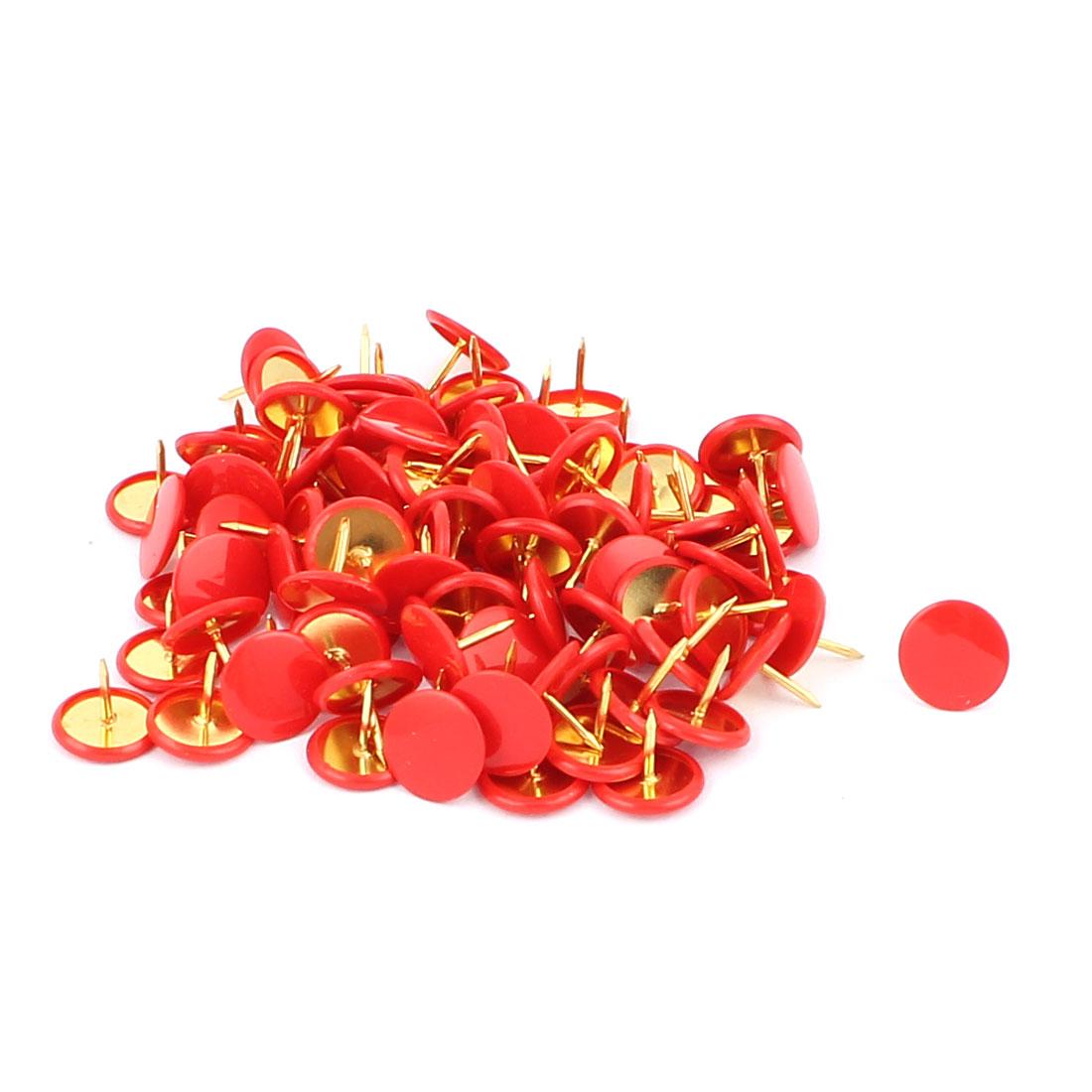 100pcs Red Plastic Coated Round Cap Thumb Tacks Thumbtacks Drawing Map Push Pins
