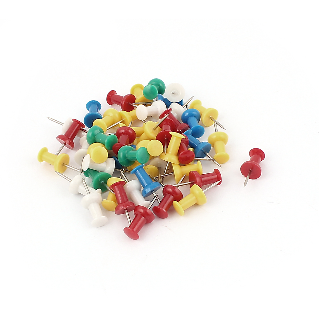 Office Plastic Coated Round Thumb Tacks Push Pins Assorted Color 50Pcs