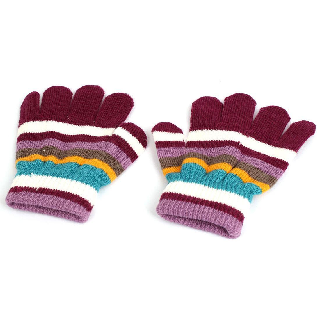 Children Stripes Pattern Full Finger Elastic Cuff Warm Hand Gloves Purple Pair