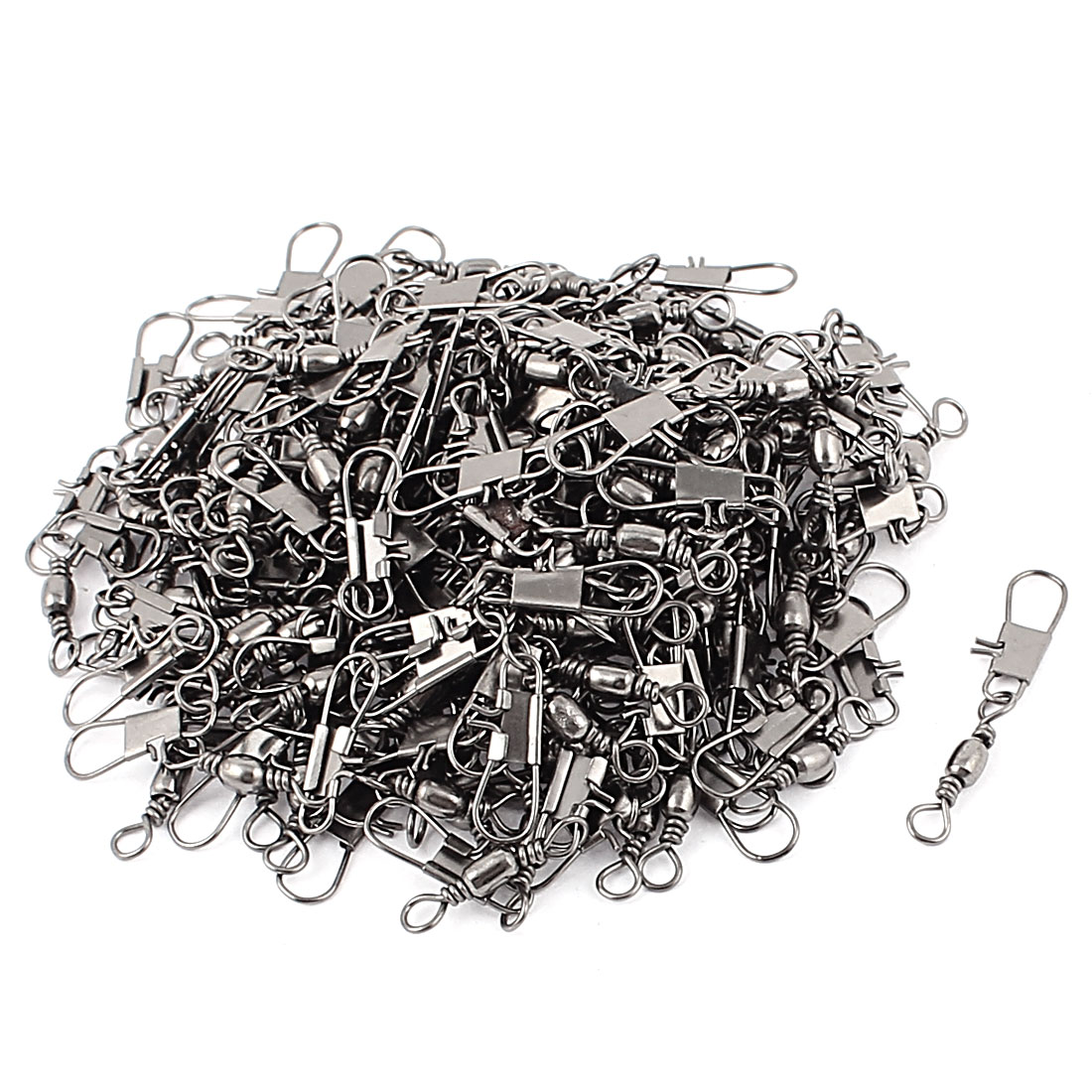 170Pcs Dark Gray Metal Fishing Line to Hook Shank Swivel Connectors B9#