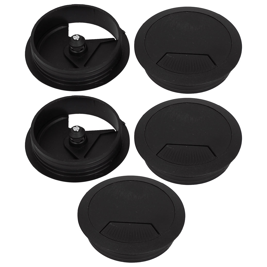 PC Desk Plastic 60mm Dia Wire Outlet Grommet Cable Hole Cover Black 5pcs