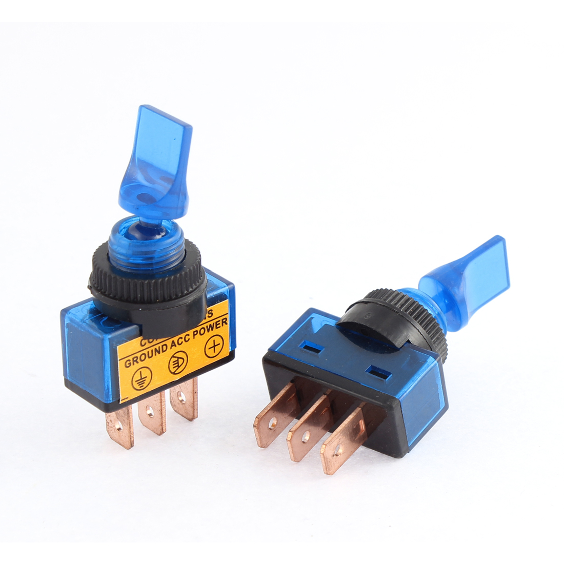 2pcs DC 12V 20A Blue Pilot Light Short Arm 12mm Thread Panel Mount 2 Positions SPST Latching Mini Toggle Switch