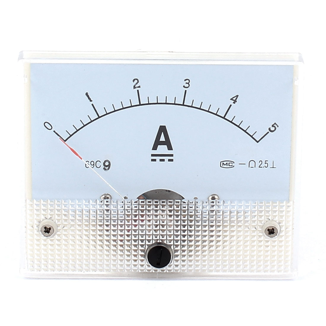 69C9 DC 0-5A Class 2.5 Accuracy Rectangle Vertical Current Measuring Meter Panel Gauge Analog Ammeter Amperemeter