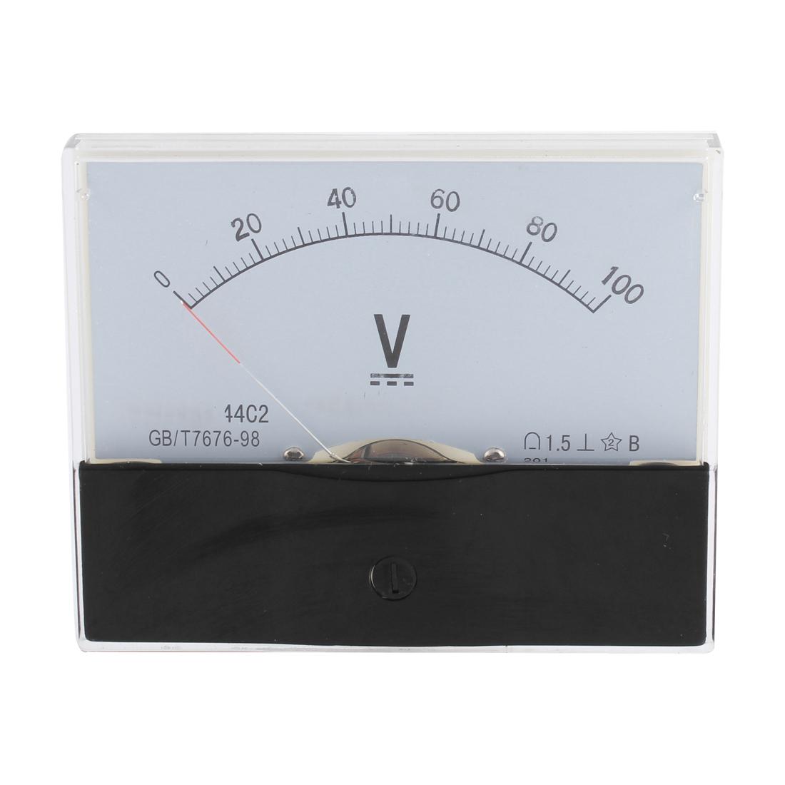 44C2 DC 0-100V Class 1.5 Rectangle Panel Gauge Voltage Measuring Analog Voltmeter Volt Meter